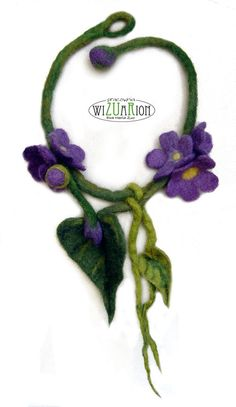 FLOWER NECKLACE Violet hand felted Ready to shipping от Wizuarion