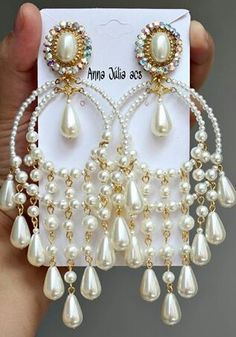 Strong metaphysical crystal jewelry for her. I think these are perfect white bridal earrings too! Jewelry Design Earrings, Bead Jewellery, Bead Earrings, Bridal Earrings, Crystal Jewelry, Bridal Jewelry, Jewelry Gifts, Beaded Jewelry, Jewelery