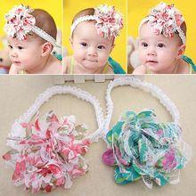 Caçoa a menina Chiffon flor Headband faixa de cabelo Headwear mantilha(China (Mainland))