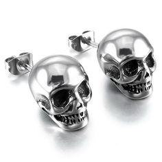 OBSEDE Punk Skull Earrings for Men Boys Cool Silver Jewelry Hip-hop Stud Earrings Vintage Rock Skeleton Earrings Skull Earrings, Skull Jewelry, Gothic Jewelry, Luxury Jewelry, Vintage Earrings, Silver Earrings, Silver Jewelry, Vintage Jewelry, Silver Ring