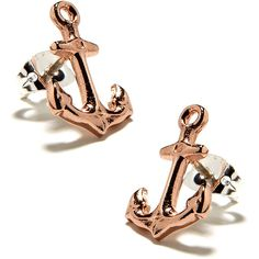 BaubleBar Rose Anchor Studs ($68) ❤ liked on Polyvore