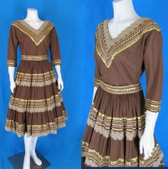 Vintage 1950s Faye Creations Patio Rockabilly Squaw 2-Pc Dress Lace Gold RicRac #FayeCreations