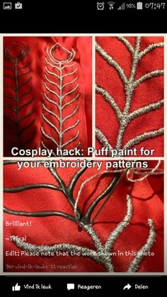 Most recent Absolutely Free sewing hacks shirts Suggestions Cosplay hack - Use puff paint to prepare pattern for handmade embroidery Embroidery Patterns, Hand Embroidery, Machine Embroidery, Sewing Patterns, Paint Patterns, Tumblr Embroidery, Embroidery Stitches, Medieval Embroidery, Embroidery Tattoo