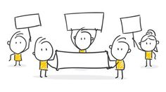 Strichfiguren / Strichmännchen: Menschen, Streik. (Nr. 310) Business Icons, Business Cartoons, Doodle People, Stick Figure Drawing, Visual Thinking, Illustrator, Sketch Notes, Stick Figures, Me On A Map