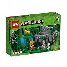 Lego Minecraft Templo de la Jungla; has descubierto un enorme templo cubierto de enredaderas en lo más profundo de la jungla de Minecraft. Un ocelote mira con atención desde un gran árbol mientras dos esqueletos protegen la entrada. ¡Ponte tu armadura de