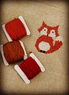 Foxy fox in cross-stitch  by Katia Donohoe, via Flickr