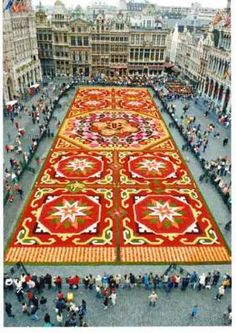 Guatemala and Honduras, Semana Santa, or Holy Week, is celebrated in a colorful fashion, by creating beautiful street carpets made of sand and sawdust and decorated with plants and flowers, called alfombras.