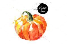 20 Watercolor Vegetables Vector by Elena Pimonova on @creativemarket