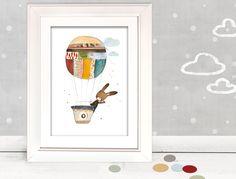"""Bilder - Kinderbild """"Hase im Ballon""""   - ein Designerstück von pipapier bei DaWanda"""