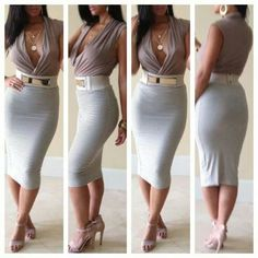 I love this high waist pencil skirt with the gold embellishment.  Great for all body types.