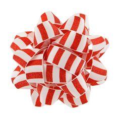 White Grosgrain with Red Stripes Premium Bow - Wondershop