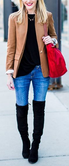 #spring #fashion /  Brown Blazer / Black Knit / Bleached Denim / Black OTK Boots
