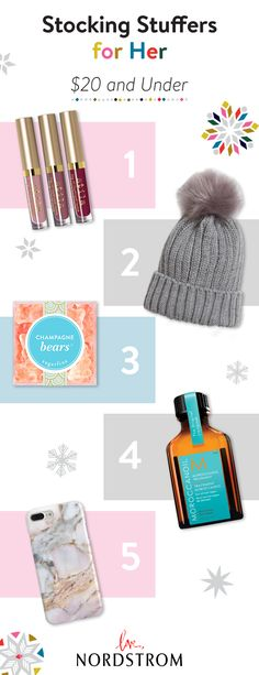 These 5 stocking stuffers come together to create the ultimate gift – a trio of liquid lipsticks, champagne-infused gummies, a cozy pompom beanie, a rich marble iPhone case and argan oil hair treatment. Fill stocking to the brim with things they really wa Christmas Wishes, Christmas Holidays, Christmas Ideas, Holiday Ideas, Xmas, Cute Gifts, Diy Gifts, Awesome Gifts, Holiday Gifts