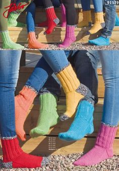 Classic socks in happy colors. Rock Socks, Free Crochet, Knit Crochet, Knitting Patterns, Happy Colors, Knitting Socks, Leg Warmers, My Style, Ganchillo