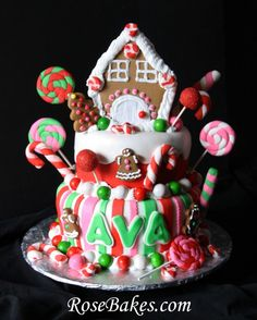 Gingerbread House Christmas Candy Birthday Cake by http://rosebakes.com