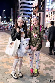 Two sisters in Harajuku, May, 2013. Love the Nadia Harajuku dinosaur print tights.