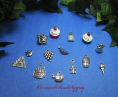 Food Charm Collection Food and Drink Pendants 14 Pieces Fruits Sweets Cupcakes Pizza Cake Cheese Wine Whisky Party Favor Charms 9037 by OverstockBeadSupply on Etsy