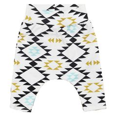 Organic baby harem pants with aztec print organic by Hey BB