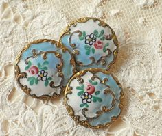 RESERVED FOR KURO 1971 Antique Victorian / Edwardian Enameled Buttons - Emaux Peints
