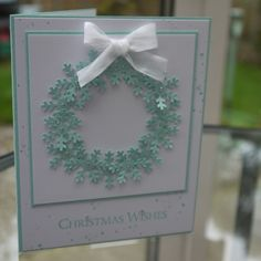 Wreath of punched snowflakes, Gorgeous Grunge in Pool Party by Stampin Up