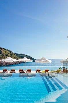 Take a dip in the gorgeous infinity pool or sit with a cocktail at the swim-up bar. #Jetsetter Daios Cove Luxury Retreat (Crete, Greece)