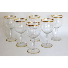 Set of six 1930s Art Deco wine goblets, by Tiffin,  made of fine Franciscan crystal.