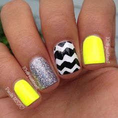 Summer nails. Neon, chevron,  sparkly! Not crazy about the yellow ... but maybe pink or coral!