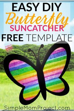 Easy and Fun DIY Spring Butterfly Sun catcher Craft - Simple Mom Project - - Click and get your FREE printable template to make your own Butterfly Suncatcher! Your kids will have so much fun making this DIY stained glass craft! Art Projects For Adults, Crafts For Teens To Make, Spring Crafts For Kids, Easy Art Projects, Kids Diy, Diy Spring, Spring Art, Butterfly Template, Butterfly Crafts