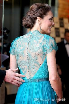 2015 Kate Middleton Evening Dresses with Cap Sleeves London Olympic gala Celebrity Dresses Pleats Teal Color Long Chiffon Lace Evening Gowns
