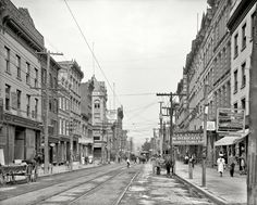 """Circa 1906. """"Main Street. Poughkeepsie, New York."""" Behold the Queen City of the Hudson. 8x10 inch glass negative, Detroit Publishing Company"""
