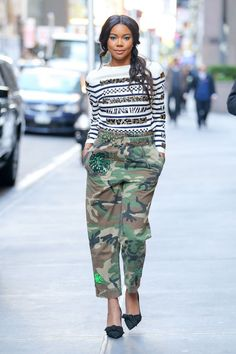 Our fashion editor picked out the best celebrity street style and give us tip on how to get these looks: Gabrielle Union in camo print.