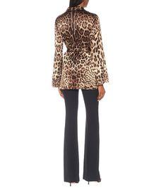 Leopard-Print Stretch-Silk Satin Top - Dolce & Gabbana | Mytheresa Satin Top, Silk Satin, Halloween Costume Puns, Leopard Jacket, Leopard Print Top, Mother Of Pearl Buttons, Nightwear, Beige, Tops