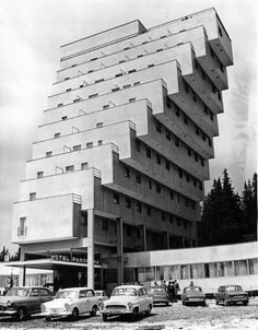 Constructivist architecture, Slovakia, Strbske Pleso, Panorama Hotel Ski Resort That looks so scary i wouldnt wanna be on the top floor . Architecture Constructiviste, Constructivism Architecture, Architecture Antique, Futuristic Architecture, Amazing Architecture, Brutalist Buildings, Amazing Buildings, Built Environment, Bauhaus