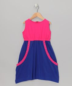 Love this Pink & Blue Slouchy Pocket Dress - Toddler & Girls by Addie & Ella on #zulily! #zulilyfinds