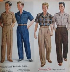 1940-1942: This era for men was simple and it included pleated high-waisted slacks and plaid shirts with a convertible collar. (Pascale H.)