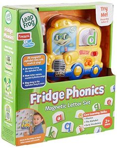 LeapFrog Fridge Phonics Magnetic Letter Set  The Fridge Phonics Magnetic Letter Set brings phonics skills to life with 26 singing, talking letters. Perfect for keeping little ones busy learning, the magnetic school bus and letter tiles stick to your fridge or any magnetic surface. Children can place each letter into the bus window and press it to hear Tad say the letter's name and sound. Press it twice and Tad will say a word that begins with the letter and then use the word in a sen..