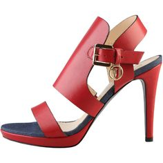 Trussardi Red sandals 79S002_35_ROSSO ($130) ❤ liked on Polyvore featuring shoes, sandals, red sandals, trussardi shoes, trussardi and red shoes
