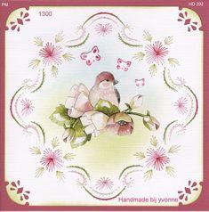 YBB 1300 roze bloemen met vogel