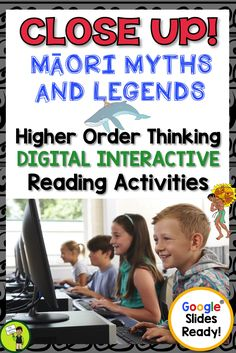 Go paperless with our Google Slides-ready reading comprehension resource! Teach traditional Maori myths and legends with differentiated reading passages and questions. This Google Resource includes four Year Five and Six narrative myth passages with six unique slides of engaging text dependent questions and higher order thinking interactive tasks.  Maori Language Week. Great for your guided reading program in both a traditional classroom, Google classroom or 1:1. #maori #mythsandlegends… Reading Comprehension Activities, Reading Passages, Reading Resources, School Resources, Google Classroom, Primary Classroom, Elementary Teacher, Primary Teaching, Classroom Activities