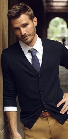 Business casual — White shirt, blue tie, navy cardigan, brown pants, belt. JustBeStylish.com