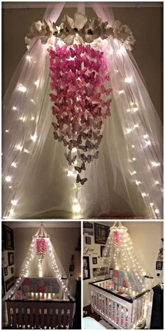 Baby Girl Nursery Room İdeas 363876844881929575 - My butterfly mobile with the crib canopy and lights. Turned out exactly how I wanted it to. All diy Source by ptitepiline Diy Nursery Decor, Baby Room Decor, Nursery Room, Girl Nursery, Nursery Ideas, Princess Nursery, Girl Decor, Nursery Design, Butterfly Room