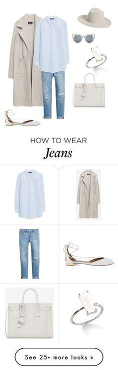 """Casual Jeans Weekend Look"" by bshujewelry on Polyvore featuring moda, Zara, White House Black Market, MANGO, Aquazzura, Erdem e Yves Saint Laurent"