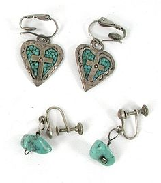 Sterling Silver and Turquoise Lot of 2 Pair Earrings E537 Vintage Earrings, Vintage Jewelry, Matrix Color, Native American Earrings, American Indian Jewelry, Turquoise Earrings, Native American Indians, Shades Of Blue, Vintage Shops
