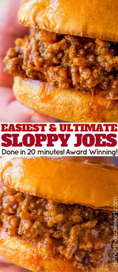 Award Winning Sloppy Joes (in 20 minutes!) – Dinner, then Dessert Award Winning Sloppy Joes (in 20 minutes!) – Dinner, then Dessert,FOOD! Classic Sloppy Joes in just 20 minutes with a rich homemade tomato. Quick Hamburger, Hamburger Meat Recipes, Home Made Hamburger Recipe, Dinner Ideas With Hamburger, Hamburger Ideas, Healthy Hamburger, Homemade Sloppy Joes, Sloppy Joes Recipe, Simple Sloppy Joe Recipe