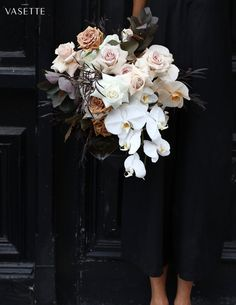 Gorgeous flowers, a modern and elegant wedding bouquet for a luxurious wedding or event. Love how the logo design is placed in the top corner, making this a very simple, subtle brand graphic. Orchid Bridal Bouquets, Orchid Flower Arrangements, Wedding Flower Arrangements, Bride Bouquets, Bridal Flowers, Flower Bouquet Wedding, Floral Bouquets, Floral Wedding, White Orchid Bouquet