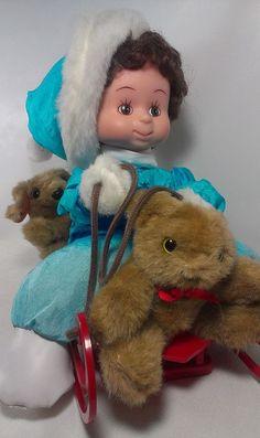 1994 Santa's Best Little Boy on Sled w/ Teddy Bear Plush Animated Motionette  #Mattel