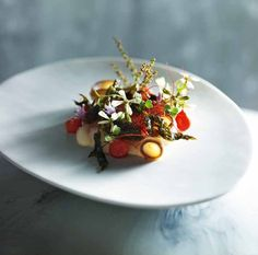Warm Salad Of Swordfish Belly And Octopus With Artichoke Aïoli And Chilli Threads - Peter Gilmore Michelin Star Food, Warm Salad, Food Decoration, Food Plating, Plating Ideas, Molecular Gastronomy, Restaurant Recipes, Culinary Arts, Food Design
