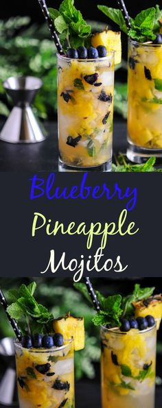 Blueberry Pineapple Mojitos craft cocktails, mixology, mojitos, rum, mint, simple syrup, blueberries, pineapple, drink, easy, muddle, cocktail, recipe