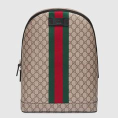 Shop the GG Supreme backpack with Web by Gucci. The Web is found along the  front of a GG Supreme canvas backpack d4e8e0697f374