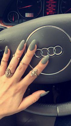 Matte grey almond nails